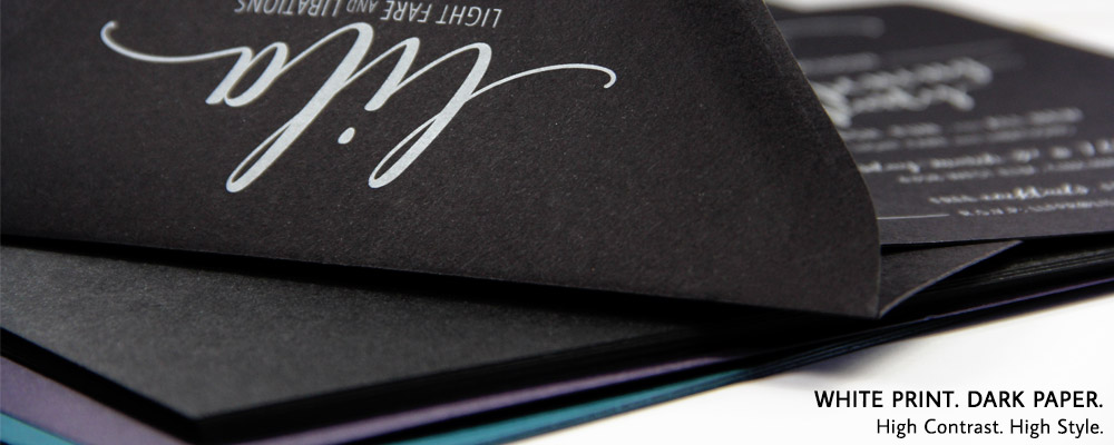 Order white ink printing on black envelopes from LCIPaper.com