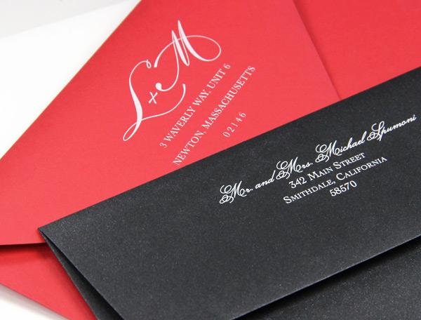 Custom back flap return address designs printed in white