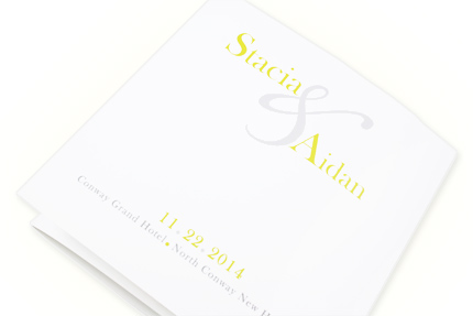 6 1/4 square white z-fold wedding program