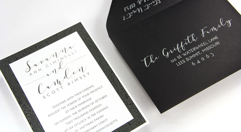 Wood Grain Brasilia Black Card Stock (#10) invitation with matching Ebony (#10) smooth matte envelope