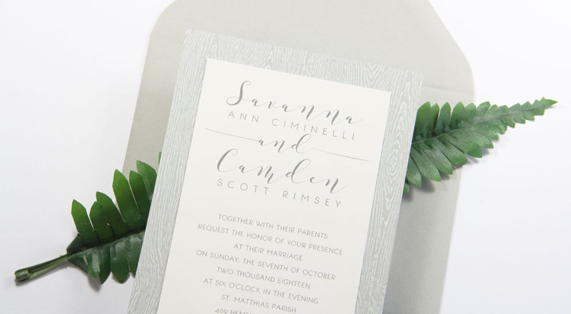 Wood Grain Brasilia Grey Card Stock (#23) invitation with matching Stone (#23) envelope