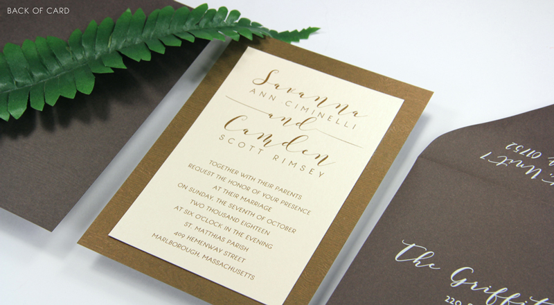 Wood Grain Glowing Makassar Card Stock (#37) with matching Chocolate (#37) smooth matte envelope