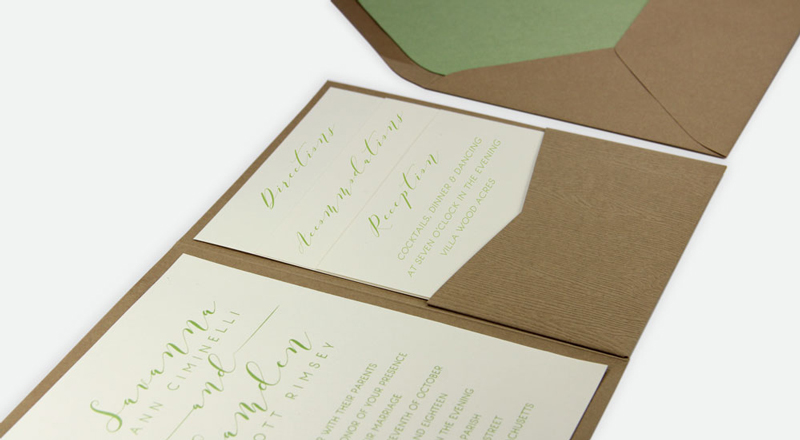 Wood Grain Tindalo Posh Pocket Card Invitation (#12) with matching Beach Sand (#12) smooth matte envelope