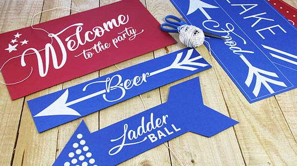Wedding, party signs printed in white by LCI Paper. You design, we print on choice of 100s of papers.