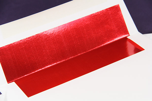 a2 red foil single lined envelopes radiant white lci paper