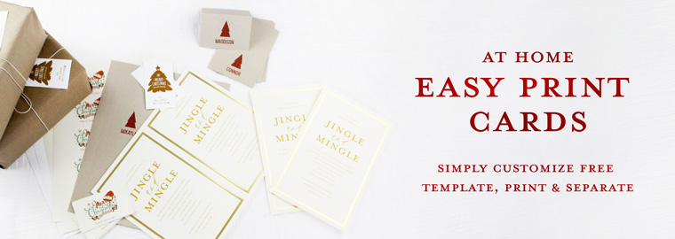 At Home Easy Print Cards simply Customize Free Template, Print and Separate
