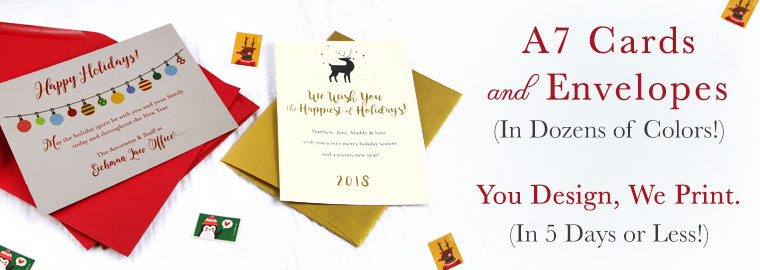 Order 5x7 cards and envelopes for holiday cards. Blank or printed by LCI Paper