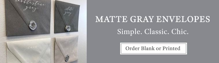 Shop gray matte envelopes blank or printed