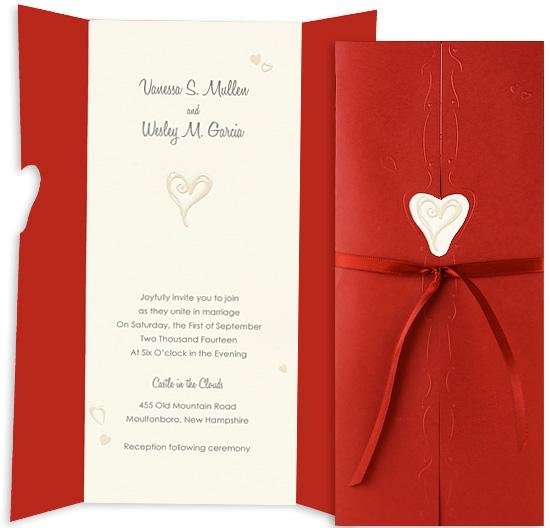hearts wedding invitation kits, Wedding invitations