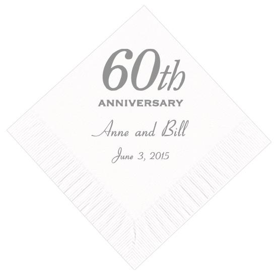 60th anniversary personalized napkins