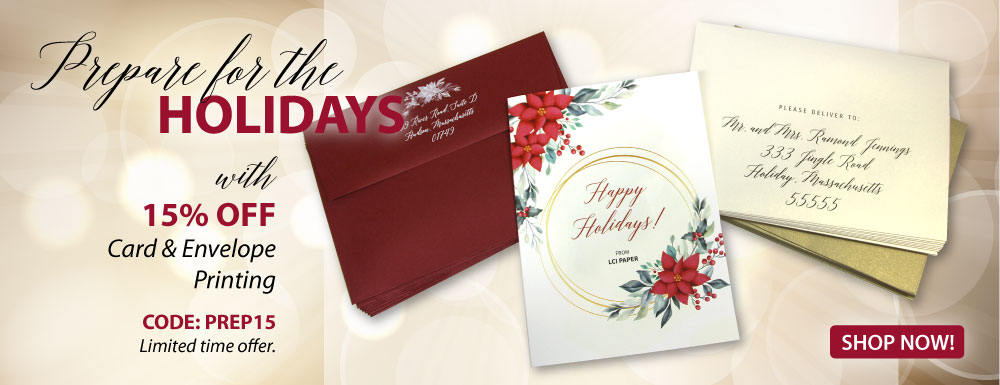 15% Off Printed Cards & Envelopes