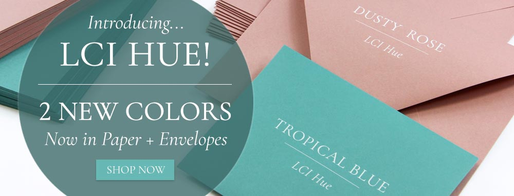 Shop new dusty rose and tropical blue paper and envelopes