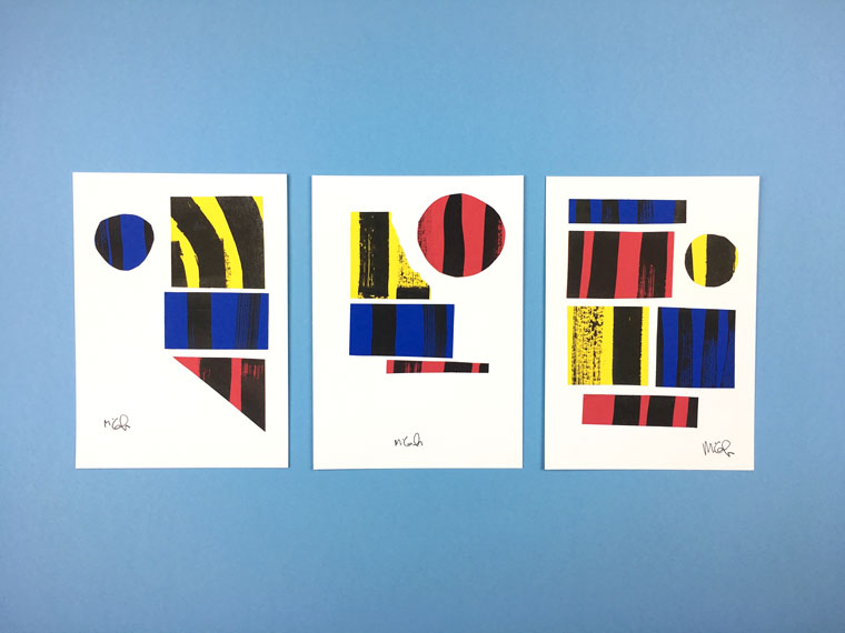 This is an image of three colorfull abstract compositions