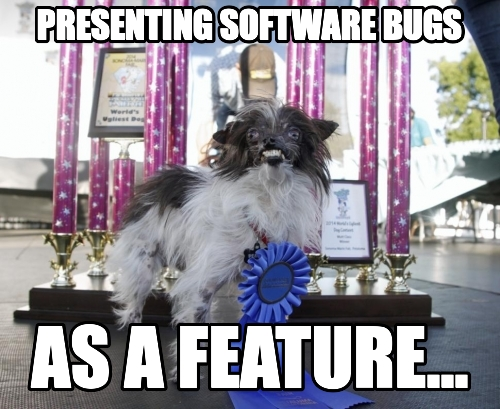 presenting software bugs as a feature...