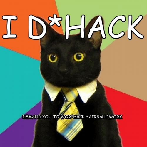 I D*hack Demand you to wOr*hack hairBall*WORK