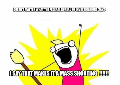 doesn't matter what the Federal bureau of Investigations sayS I say That makes it a mass shooting  !!!!!!