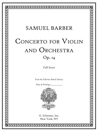 New Edition of Barber's Concerto for Violin