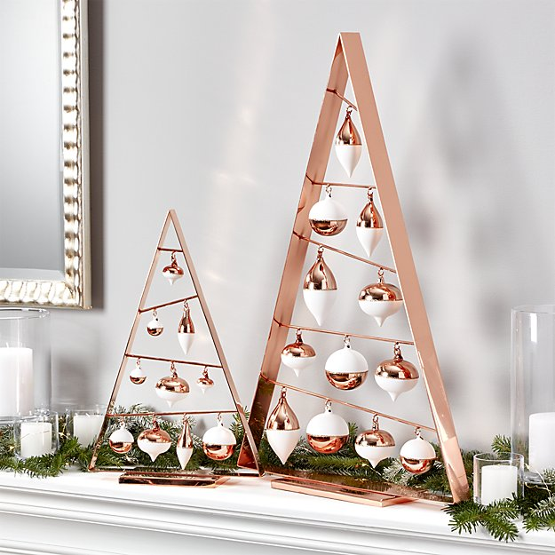 a frame copper ornament trees - Crate And Barrel Christmas Decorations