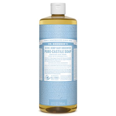 Dr Bronner 39 S Baby Unscented Pure Castile Liquid Soap 32
