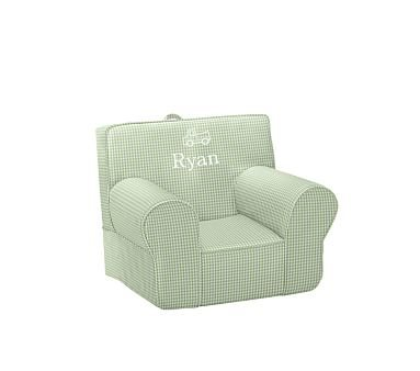 Green Gingham My First Anywhere Chair   Pottery Barn Kids Personalized With  Quentin In Ryan Font