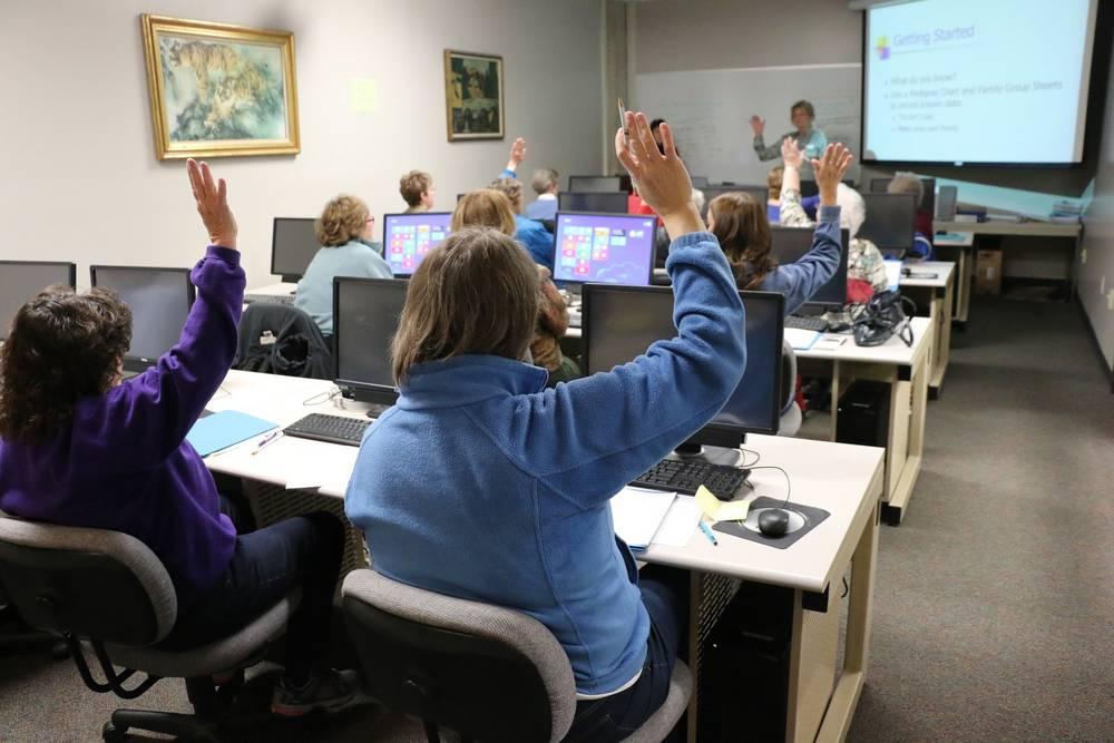 Classroom of people training