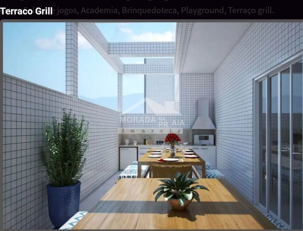 Terraço Grill do apartamento com 2 dormitórios em Balneário Maracanã - Praia Grande