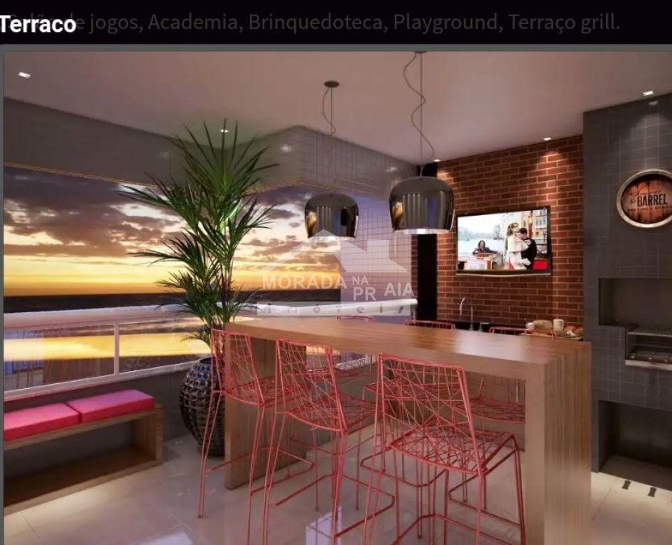 Sacada gourmet do apartamento com 1 dormitórios em Balneário Maracanã - Praia Grande