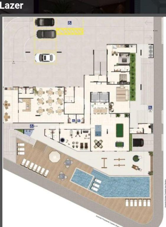 Planta da área de lazer do apartamento com 1 dormitórios em Balneário Maracanã - Praia Grande