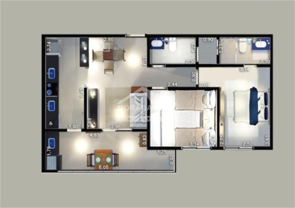 Apartamento em Canto Do Forte (SP) - 2 Quartos, 69m² - Ref