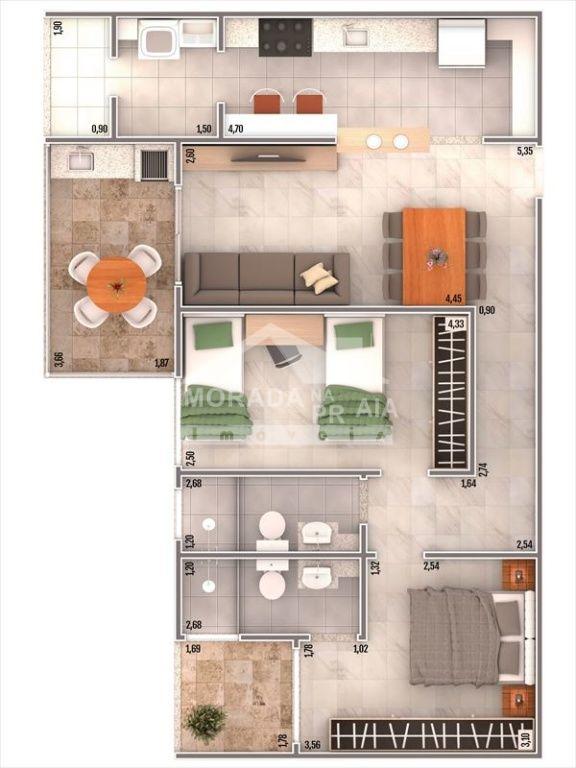 Planta do apartamento com 2 dormitórios em Vila Caiçara - Praia Grande