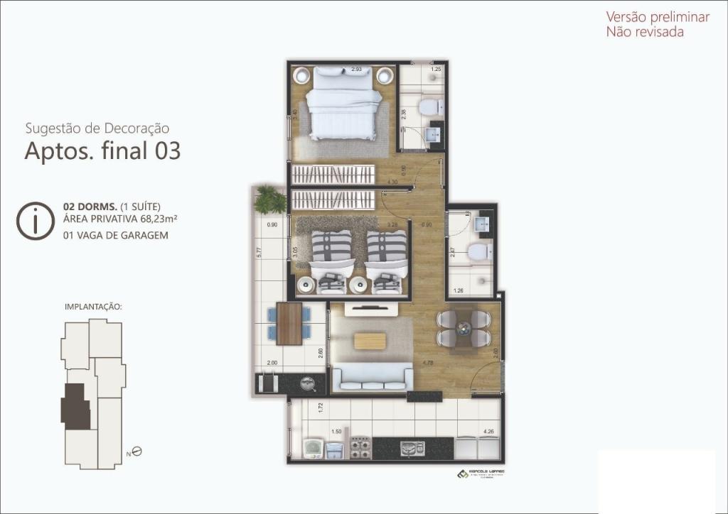 Planta do apartamento com 2 dormitórios em Canto do Forte - Praia Grande