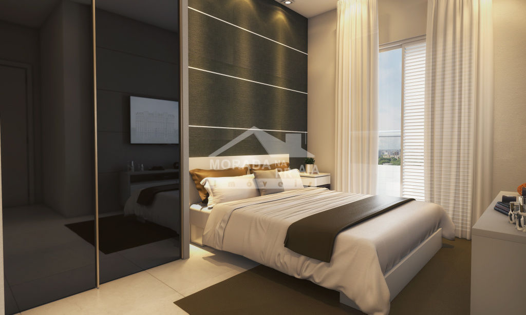 Dormitório do apartamento com 2 dormitórios em Canto do Forte - Praia Grande