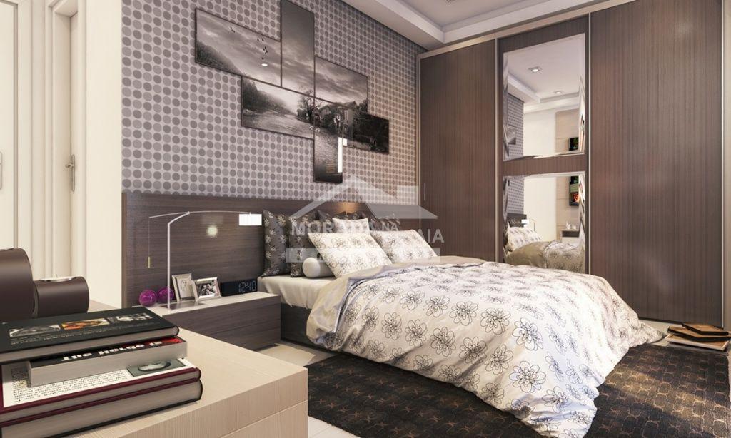 Dormitório 01 do apartamento com 2 dormitórios em Campo da Aviação - Praia Grande