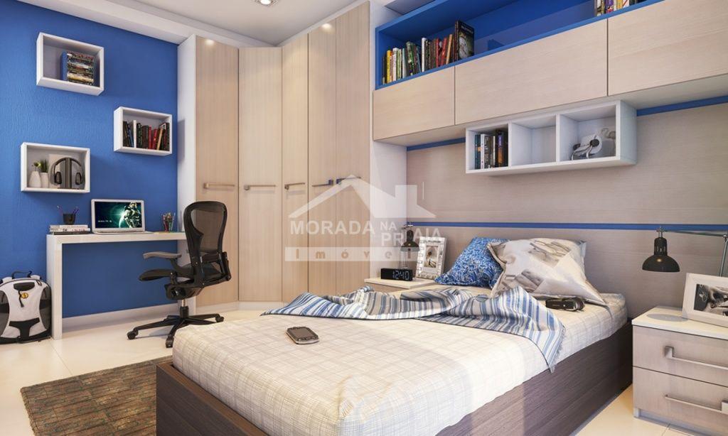 Dormitório 02 do apartamento com 2 dormitórios em Campo da Aviação - Praia Grande