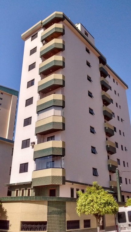 Fachada do apartamento com 1 dormitórios em Vila Guilhermina - Praia Grande