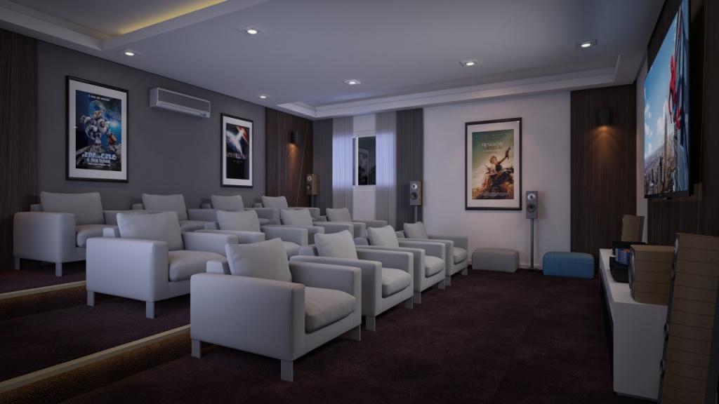 Sala de Cinema do apartamento com 2 dormitórios em Campo da Aviação - Praia Grande