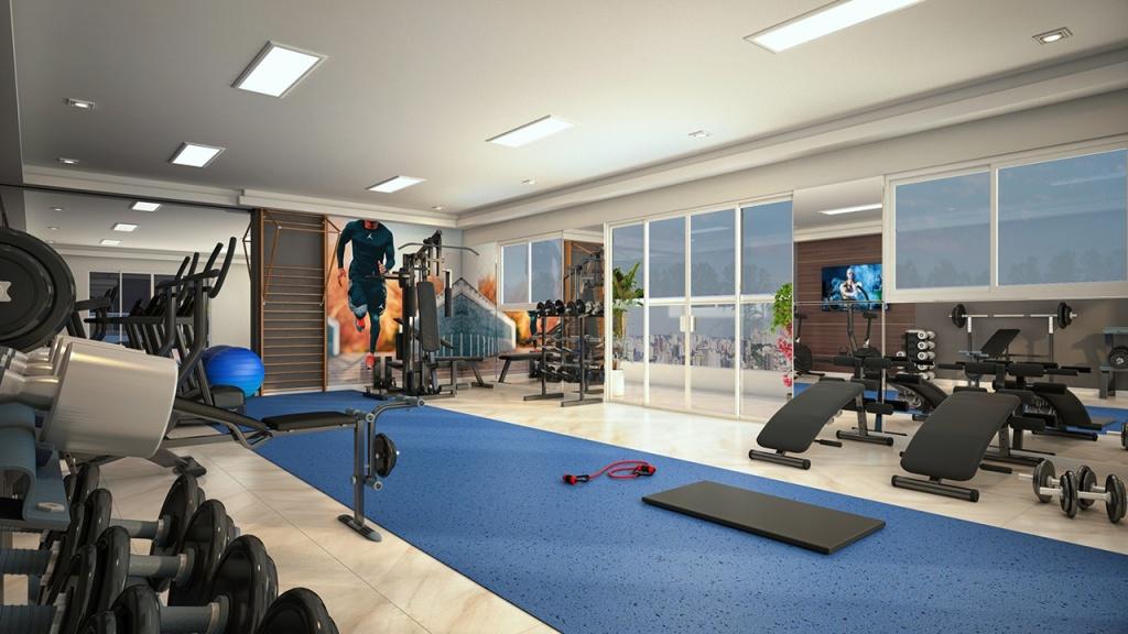 Academia do apartamento com 2 dormitórios em Campo da Aviação - Praia Grande