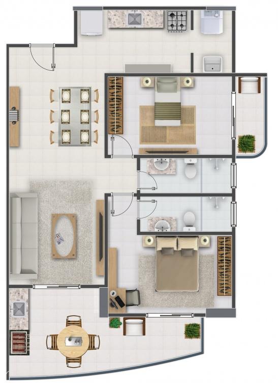 FINAL 1 do apartamento com 2 dormitórios em Campo da Aviação - Praia Grande