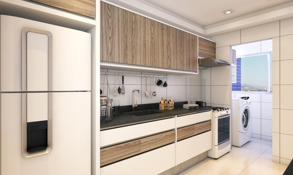 Cozinha do apartamento com 2 dormitórios em Campo da Aviação - Praia Grande