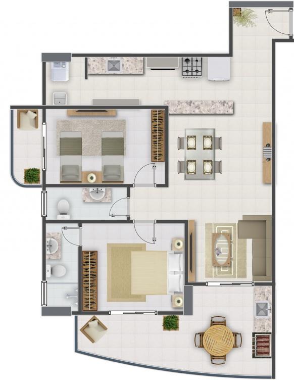 FINAL 2 do apartamento com 2 dormitórios em Campo da Aviação - Praia Grande
