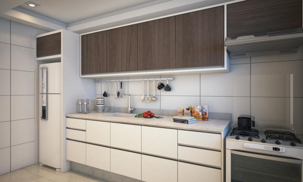 Cozinha do apartamento com 2 dormitórios em Vila Caiçara - Praia Grande