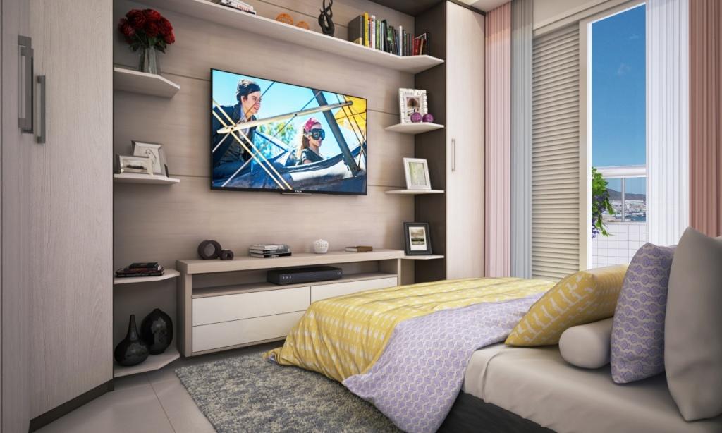 Dormitório do apartamento com 2 dormitórios em Vila Caiçara - Praia Grande