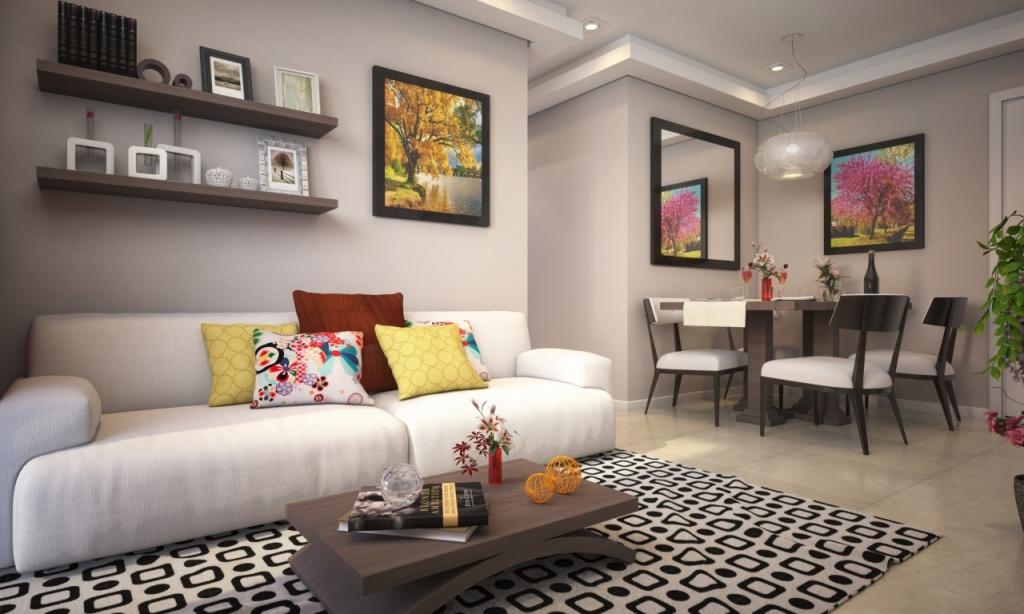 Sala do apartamento com 2 dormitórios em Vila Caiçara - Praia Grande