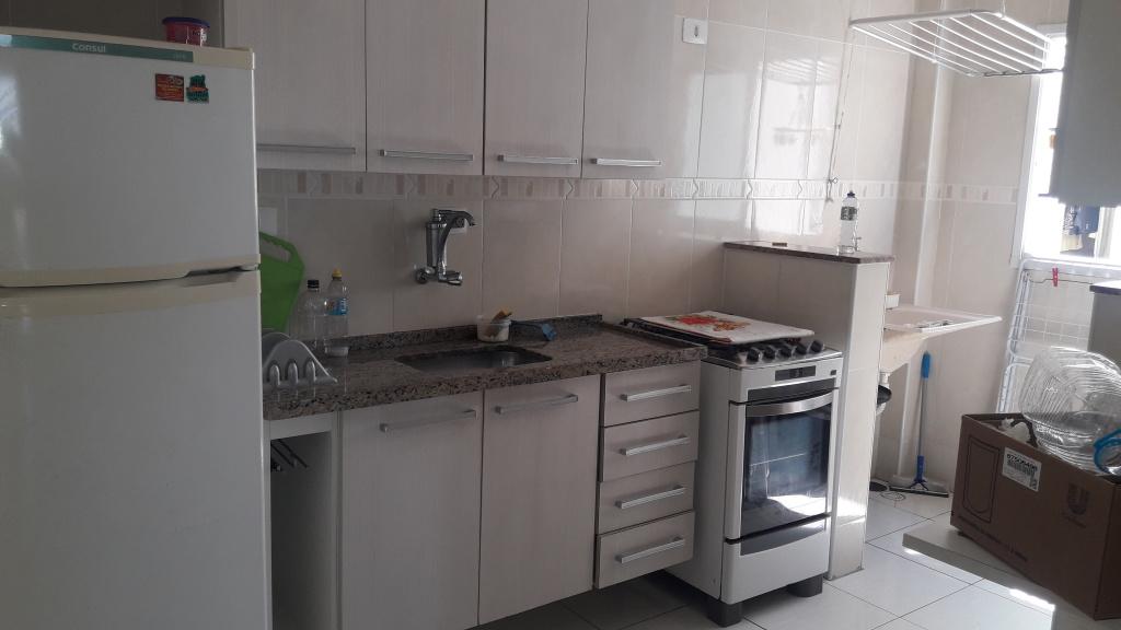Cozinha do apartamento com 2 dormitórios em Balneário Maracanã - Praia Grande