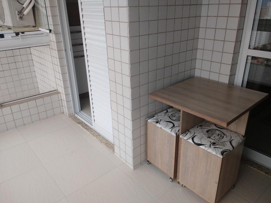 Sacada da sala do apartamento com 1 dormitórios em Campo da Aviação - Praia Grande