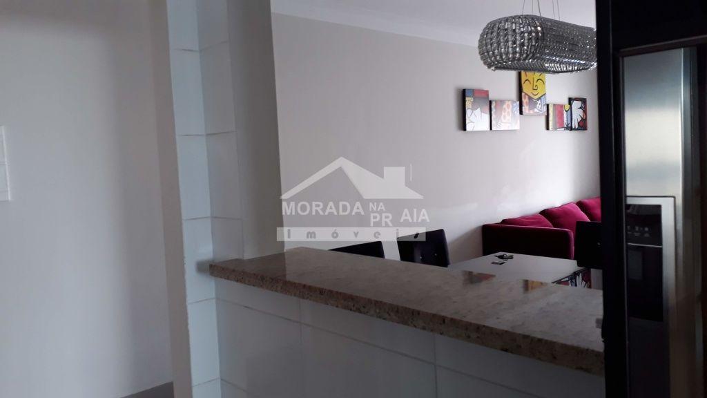 Vista da Cozinha para Sala de  do apartamento com 2 dormitórios em Boqueirão - Praia Grande