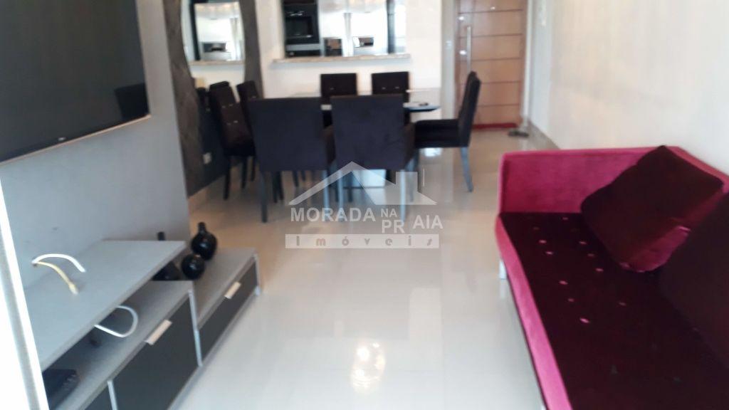 Sala de Jantar e Estar do apartamento com 2 dormitórios em Boqueirão - Praia Grande