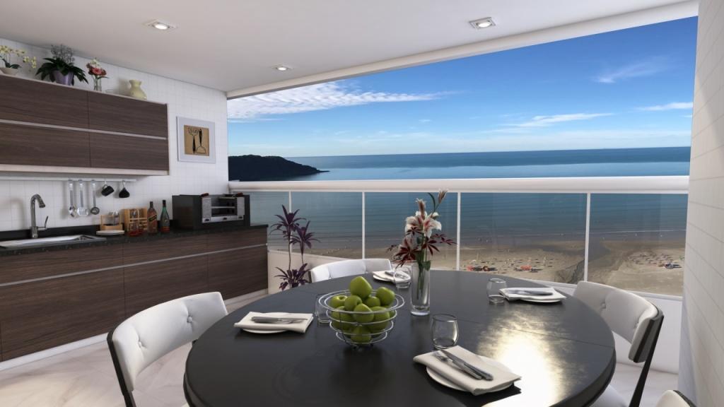 Sacada do apartamento com 2 dormitórios em Canto do Forte - Praia Grande