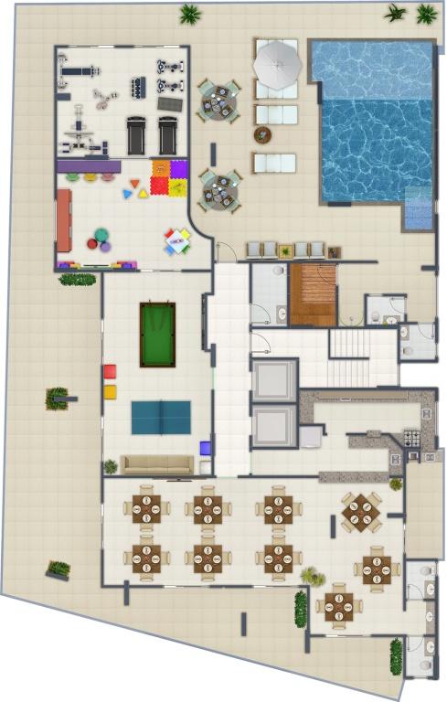 Área de Lazer do apartamento com 2 dormitórios em Canto do Forte - Praia Grande