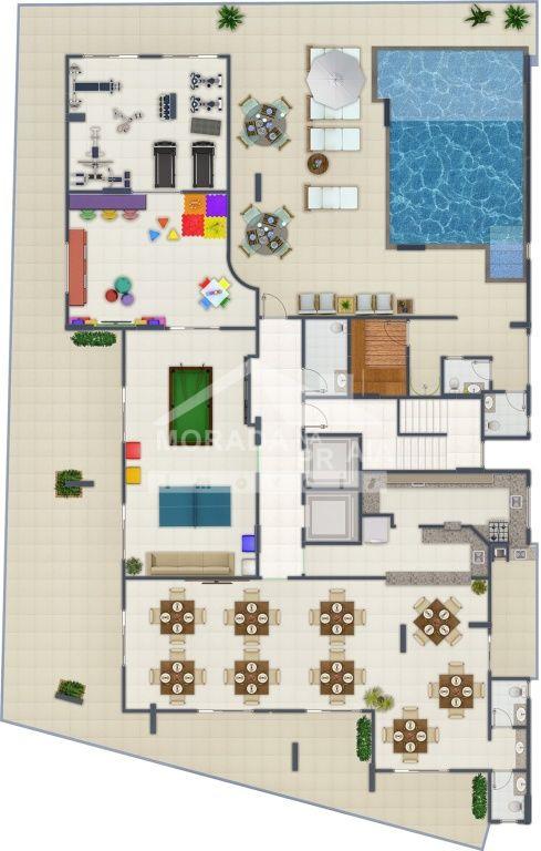Área de Lazer do apartamento com 3 dormitórios em Canto do Forte - Praia Grande